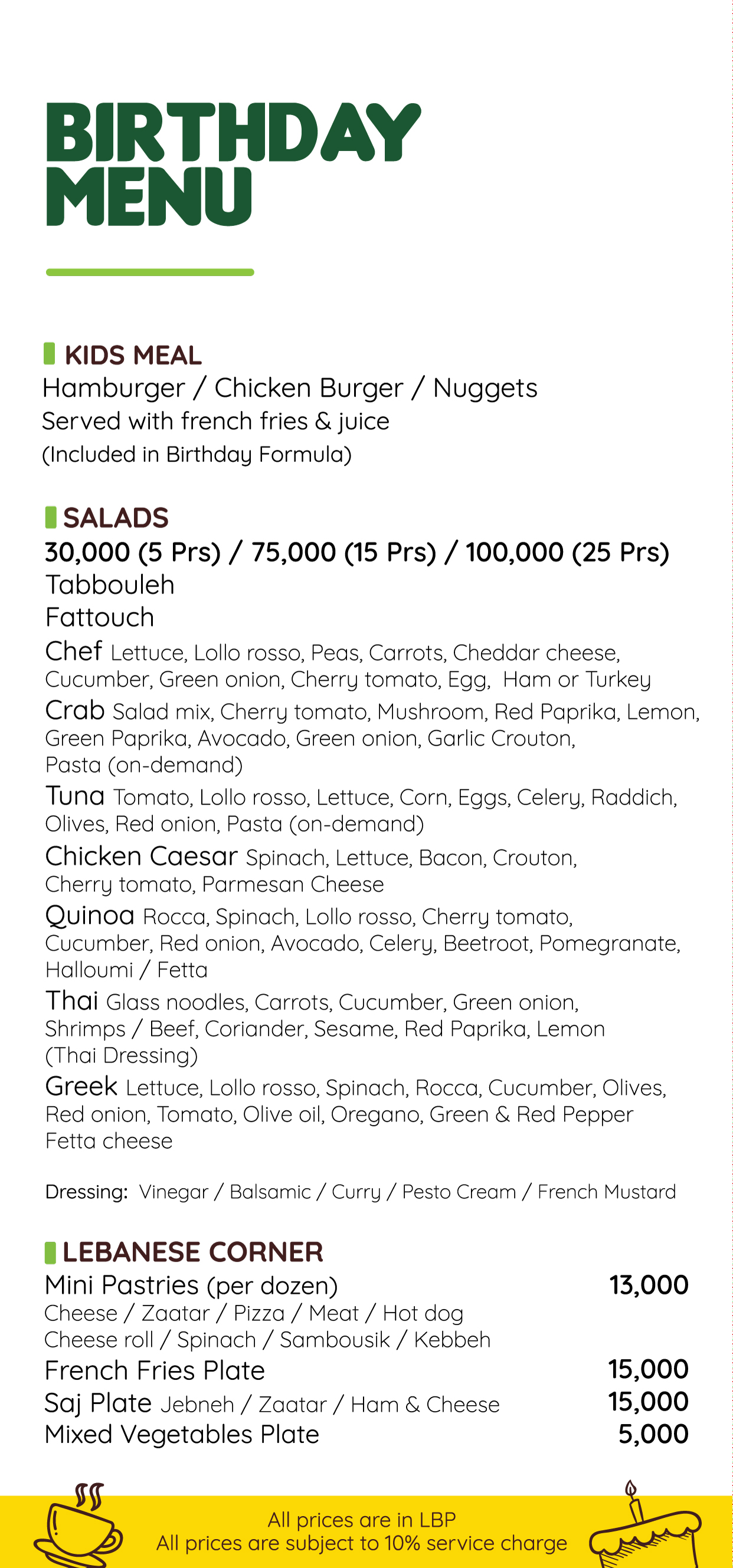 Birthday Menu 1